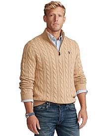 Men's Big & Tall Cable-Knit Cotton Quarter-Zip Sweater