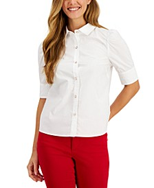 Petite Cotton Puff-Sleeve Shirt, Created for Macy's