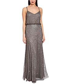 Blouson-Waist Beaded Gown