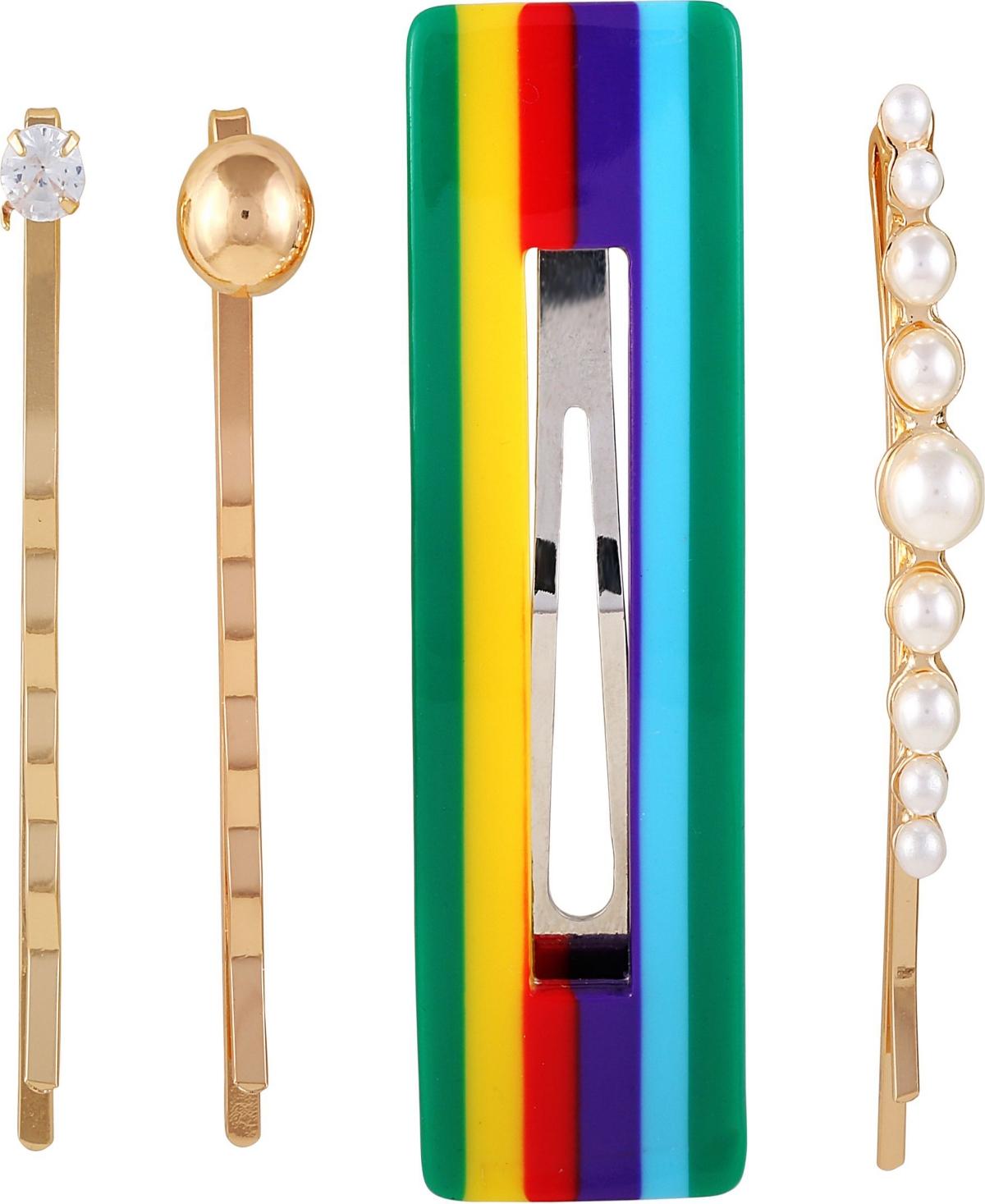 Multi-color, imatation pearl, and crystal set of 4 hair pin set