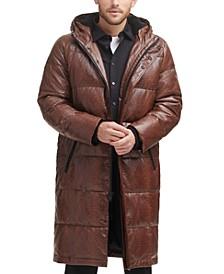 Men's Faux Leather Extra Long Parka Coat