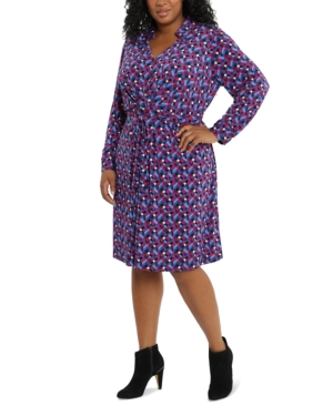Plus Size Printed Collared Jersey Dress