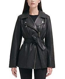Asymmetrical Belted Leather Jacket