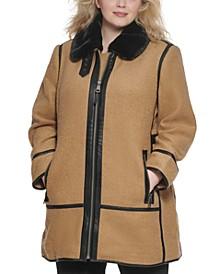 Plus Size Faux-Fur-Collar Moto Walker Coat