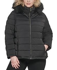 Plus Size Faux-Fur-Trim Hooded Puffer Coat