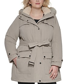 Plus Size Belted Faux-Fur-Trim Hooded Coat