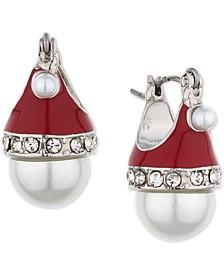 Silver-Tone Pavé & Imitation Pearl Santa Hat Drop Earrings, Created for Macy's