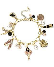 Gold-Tone Crystal, Bead & Imitation Pearl Party Charm Bracelet, Created for Macy's