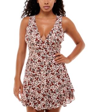 Juniors' Floral-Print Ruffled Dress