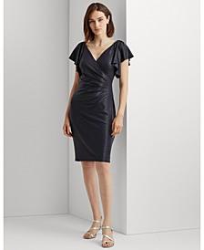 Metallic Flutter Sleeve Cocktail Dress