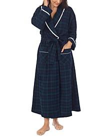 Plaid Cotton Flannel Wrap Robe