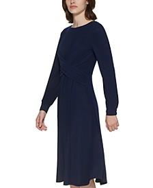 Cross-Front Midi Dress