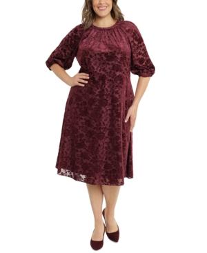Plus Size Burnout Velvet Midi Dress