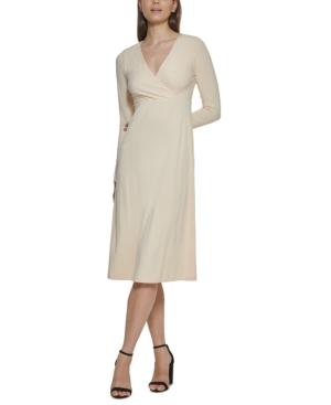 Rib-Knit A-Line Midi Dress