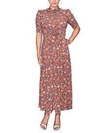 Harland Floral-Print Twist-Neck Midi Dress
