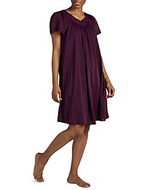 Plus Size Tricot Flutter Sleeve Short Gown