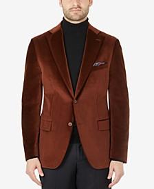 Men's Slim-Fit Brown Velvet Blazer