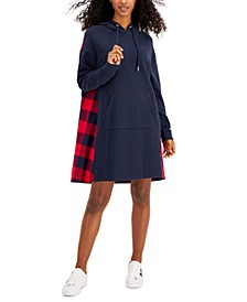 Mixed-Material Hooded Sweatshirt Dress