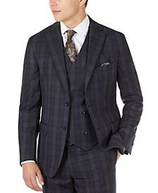 Men's Slim-Fit Wool Plaid Suit Jacket