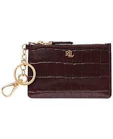 Embossed Leather Zip Card Case