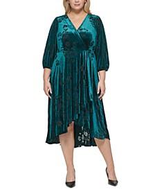 Plus Size Velvet A-Line Midi Dress