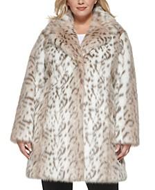 Plus Size Snow Leopard Faux-Fur Coat