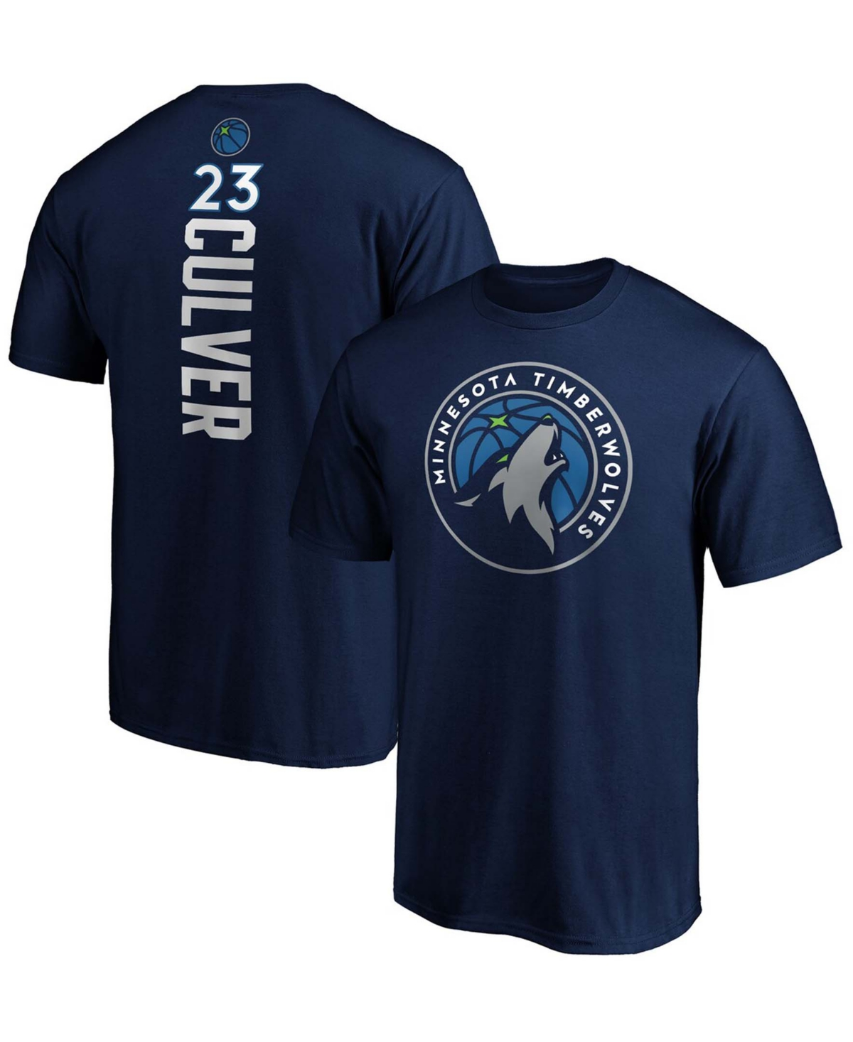 Men's Jarrett Culver Navy Minnesota Timberwolves Playmaker Name and Number Logo T-shirt