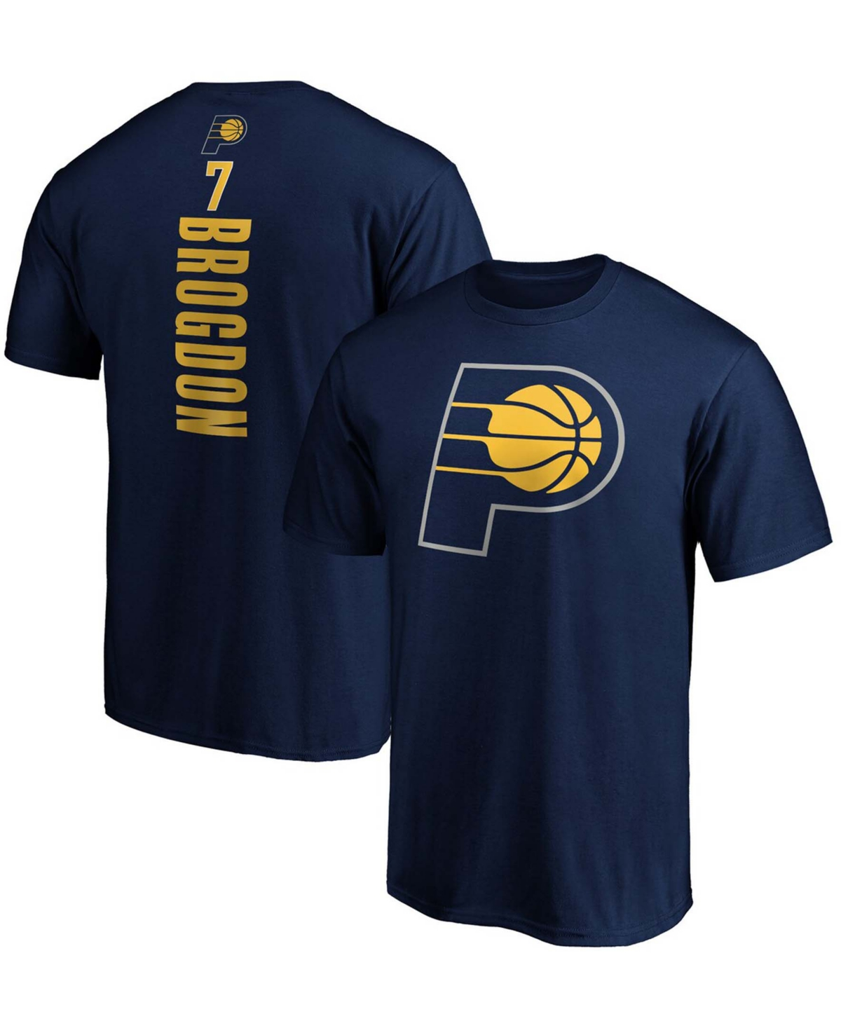 Men's Malcolm Brogdon Navy Indiana Pacers Team Playmaker Name and Number T-shirt