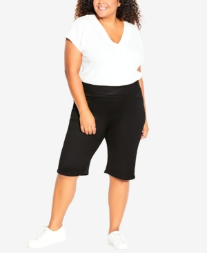 Plus Size Pull On Butter Denim Shorts