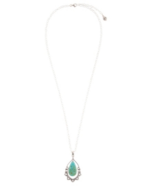 Women's Bazaar Sterling Silver and Faux Turquoise Pendant on Chain Necklace
