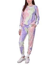 Women's Long Sleeve Tie Dyed Jogger Set, Pack of 2