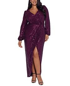Plus Size Sequin Surplice Gown