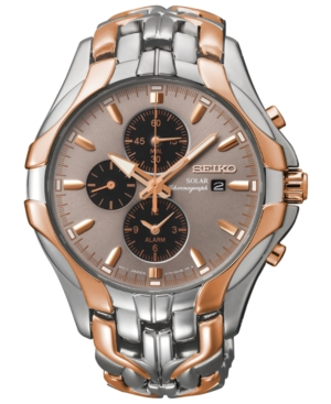Seiko Men's Chronograph Solar Two-Tone Stainless Steel Brace