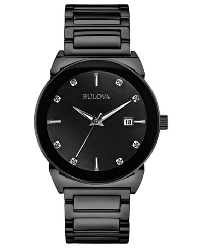 bulova men s diamond accent black tone stainless steel bracelet bulova men s diamond accent black tone stainless steel bracelet watch 41mm 98d121