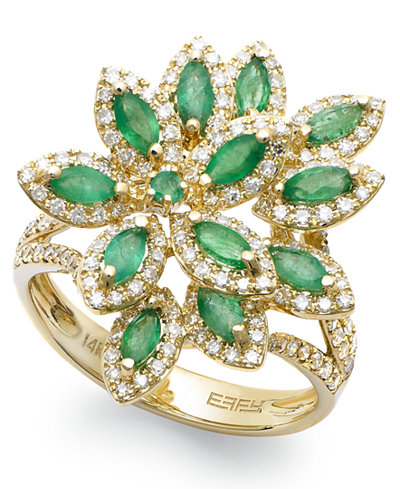Brasilica by EFFY® Emerald (1-1/16 ct. t.w.) and Diamond (5/8 ct. t.w.) Flower Ring in 14k Gold