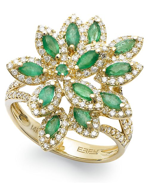 EFFY Collection Brasilica by EFFY® Emerald (1-1/16 ct. t.w.) and Diamond (5/8 ct. t.w.) Flower Ring in 14k Gold