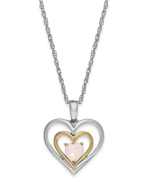 Macys opal heart pendant necklace in 14k gold and sterling silver main image aloadofball Choice Image