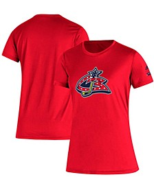 Women's Red Columbus Blue Jackets Reverse Retro Creator T-shirt