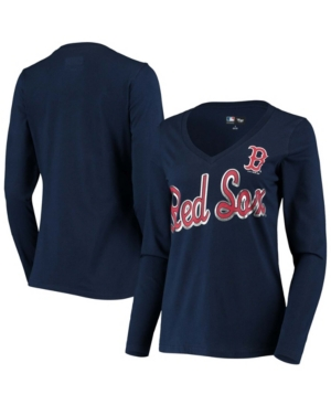 Women's Navy Boston Red Sox Perfect Game Long Sleeve V-Neck T-shirt