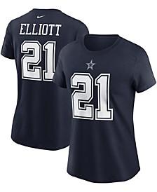 Women's Ezekiel Elliott Navy Dallas Cowboys Name Number T-shirt