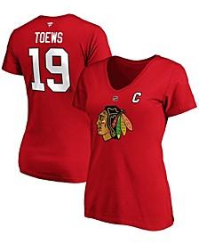 Women's Jonathan Toews Red Chicago Blackhawks Team Authentic Stack Name Number V-Neck T-shirt