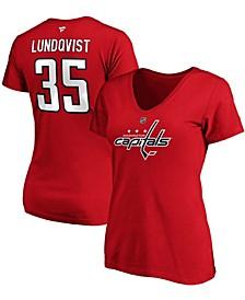 Women's Henrik Lundqvist Red Washington Capitals Authentic Stack Name Number V-Neck T-shirt