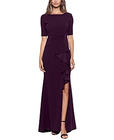 Ruffled-Front Gown