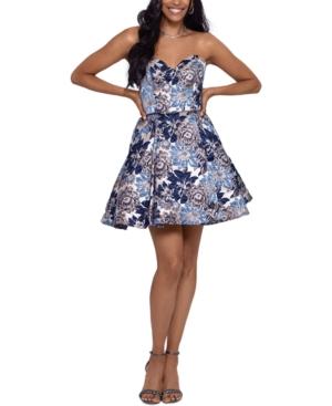 Juniors' Brocade Fit & Flare Dress