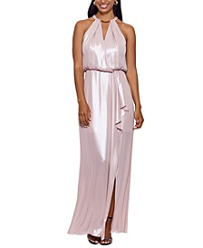 Embellished Ruffled Halter Gown