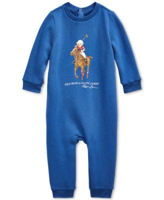 폴로 랄프로렌 Polo Ralph Lauren Baby Boys Polo Bear Big Pony Fleece Coverall,Blue Yacht
