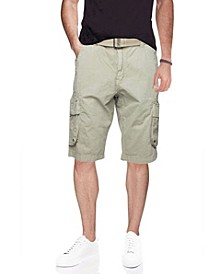 Men's Big and Tall Belted Double Pocket Cargo Shorts
