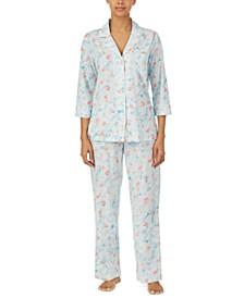 Petite 3/4 Printed Notch Collar Pajama Set