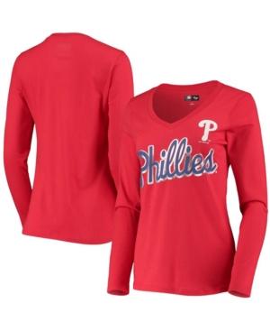 Women's Red Philadelphia Phillies Perfect Game Long Sleeve V-Neck T-shirt