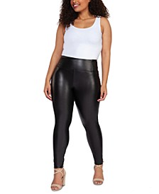Plus Size High-Waisted Faux-Leather Leggings